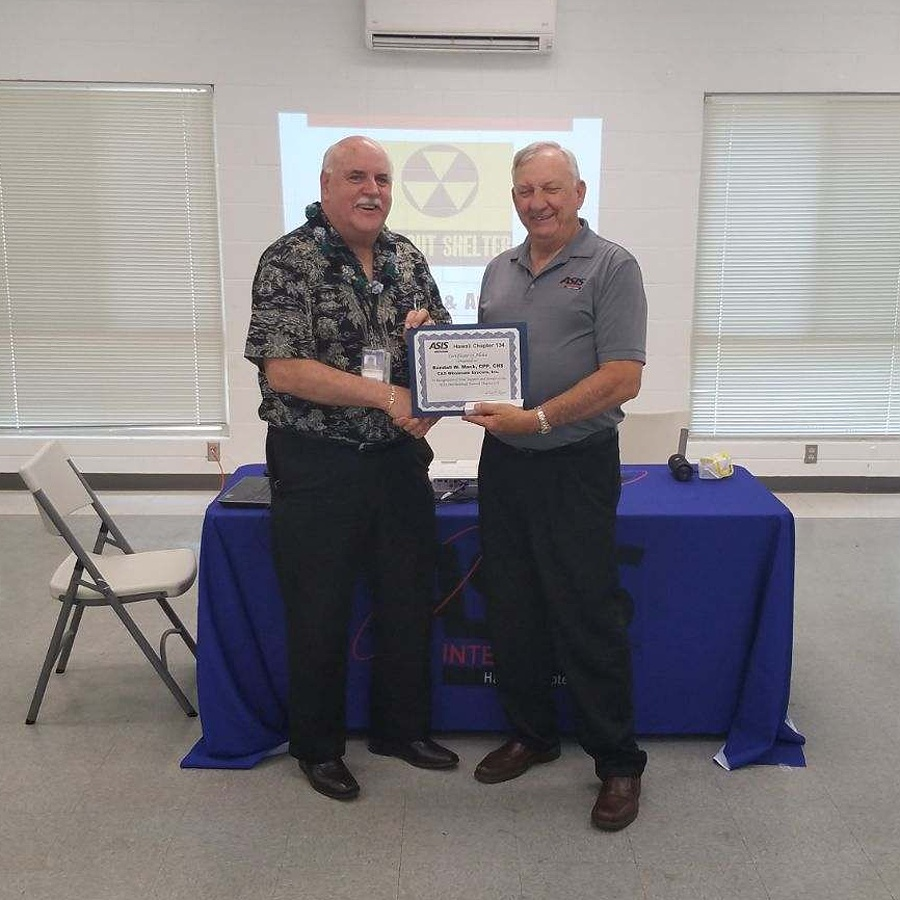 Randy Mack, CPP receives Certificate of Appreciation